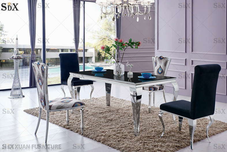 Stainless Steel Black Dining Table