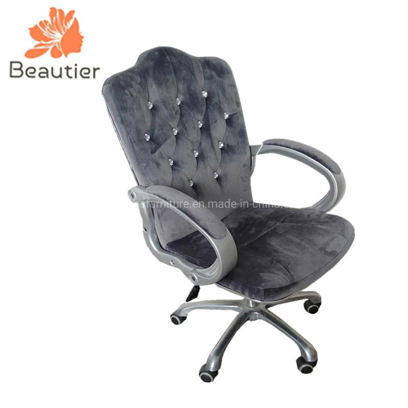 China C105 Grey Velvet Nail Salon, Chair Tech Furniture