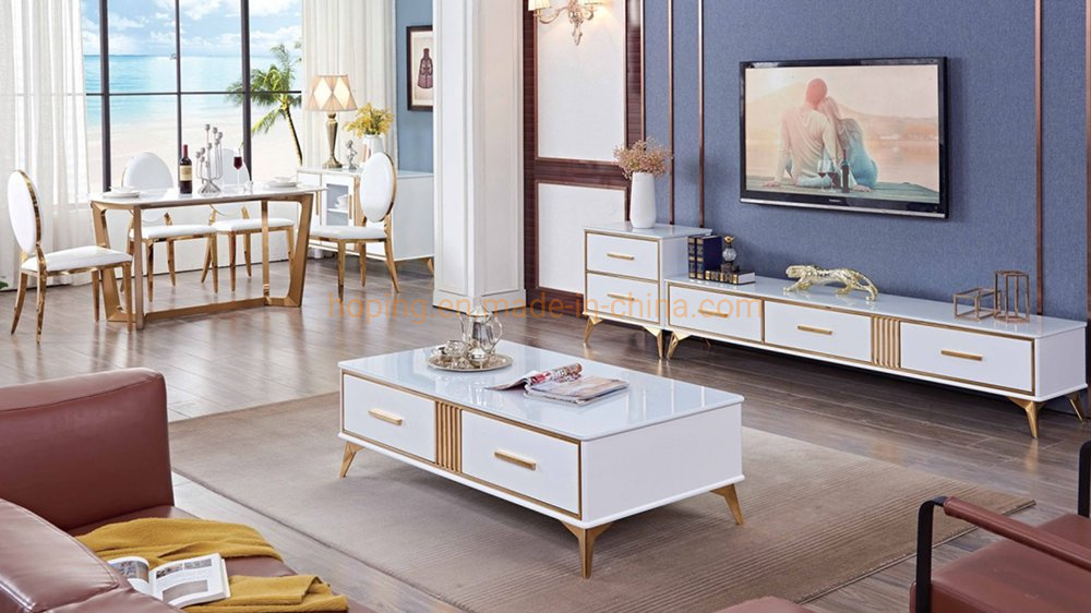 China Dining Room Set Furniture Modern Stainless Steel Coffee Tea Table White Two Drawers High Gloss Classic Center Table Photos Pictures Made In China Com