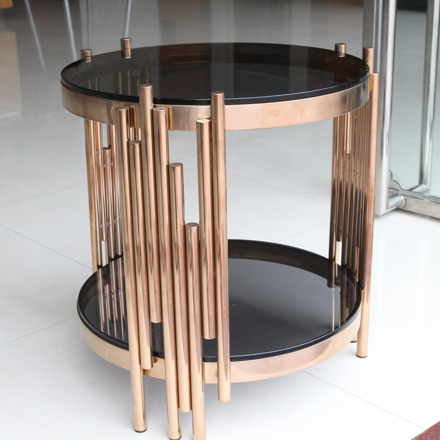 China New Design Glass Coffee Table With Metal Frame