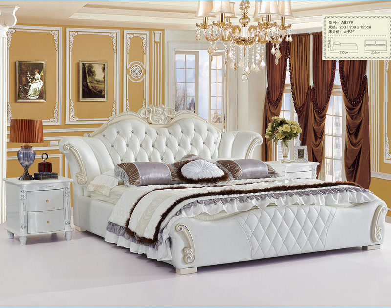 [Hot Item] White Color Royal Style Bedroom Furniture Genuine Leather Bed  (A6)
