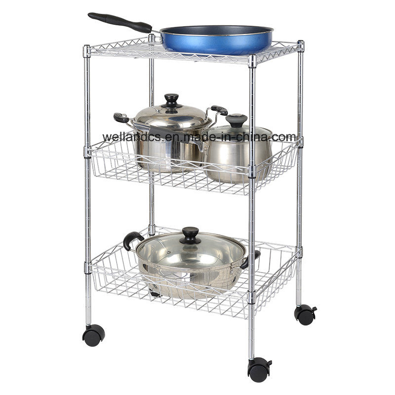 [Hot Item] Factory Direct Price Chrome Metal Wire Basket Shelf Kitchen  Utensil Rack with Wheels