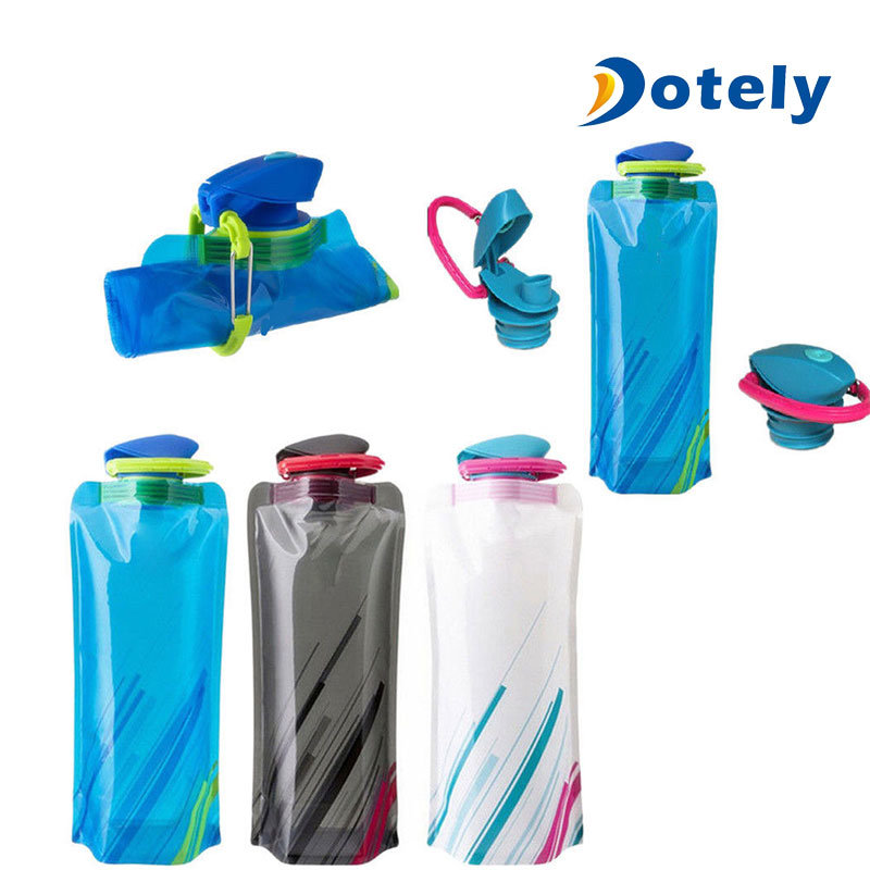700ML-Outdoor Travel Drink Water Bottle Camping Folding Foldable Collapsible Bag
