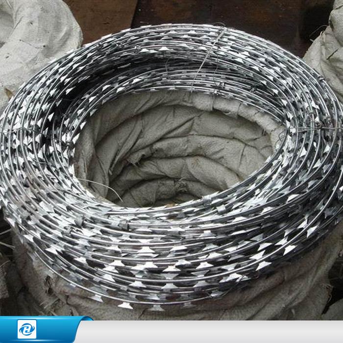 China Galvanized Concertina / Hight Security Razor Barbed Wire ...