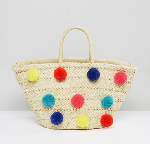 POM-POM Decoration Beach Straw Tote Bag (LD-17001)
