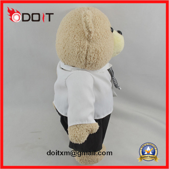 Custom Logo Promotional Gift White Shirt Tie Teddy Bear