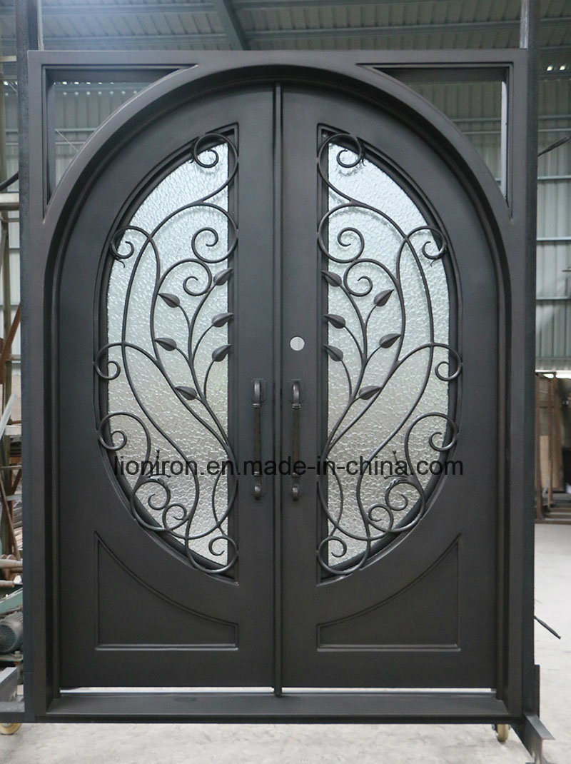 China Security Ornamental Wrought Iron Entry Front Doors For House