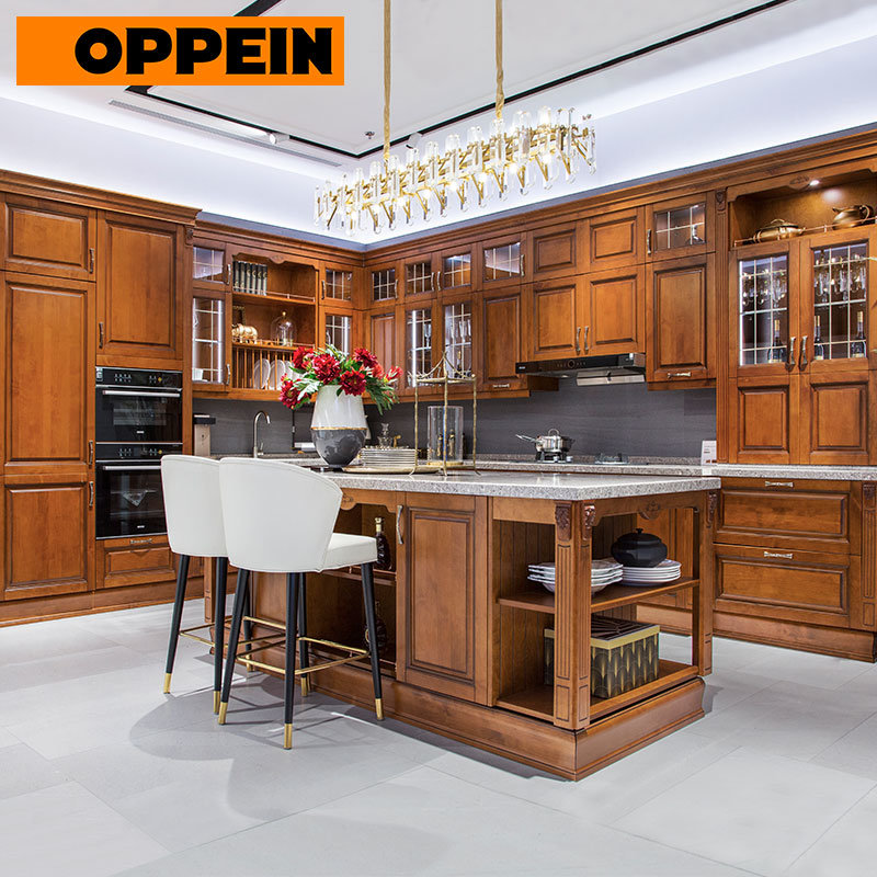 Complete Kitchen Cabinets China Oppein Real Wood Traditional Full Home Solid Wood Complete