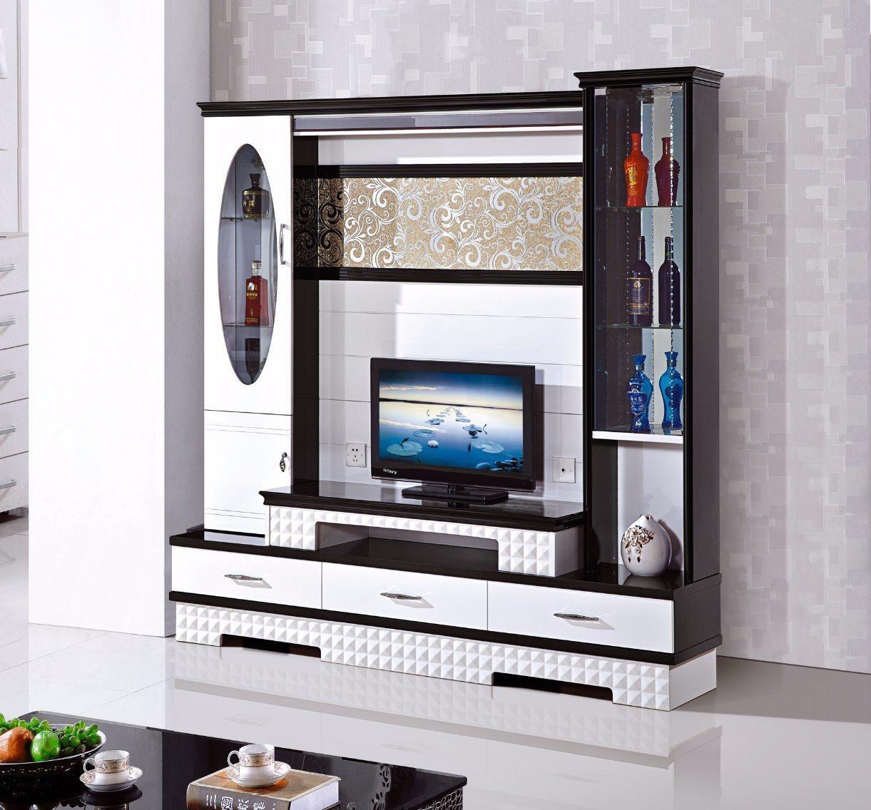 China Three Doors Living Room Wood TV Wince Display Cabinet - China ...