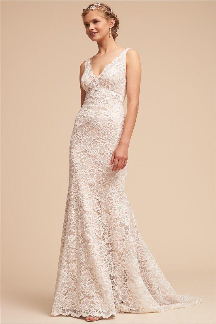 China V-Neck Lace Bridal Gown Mermaid Fishtail Wedding Dress 2018 ...
