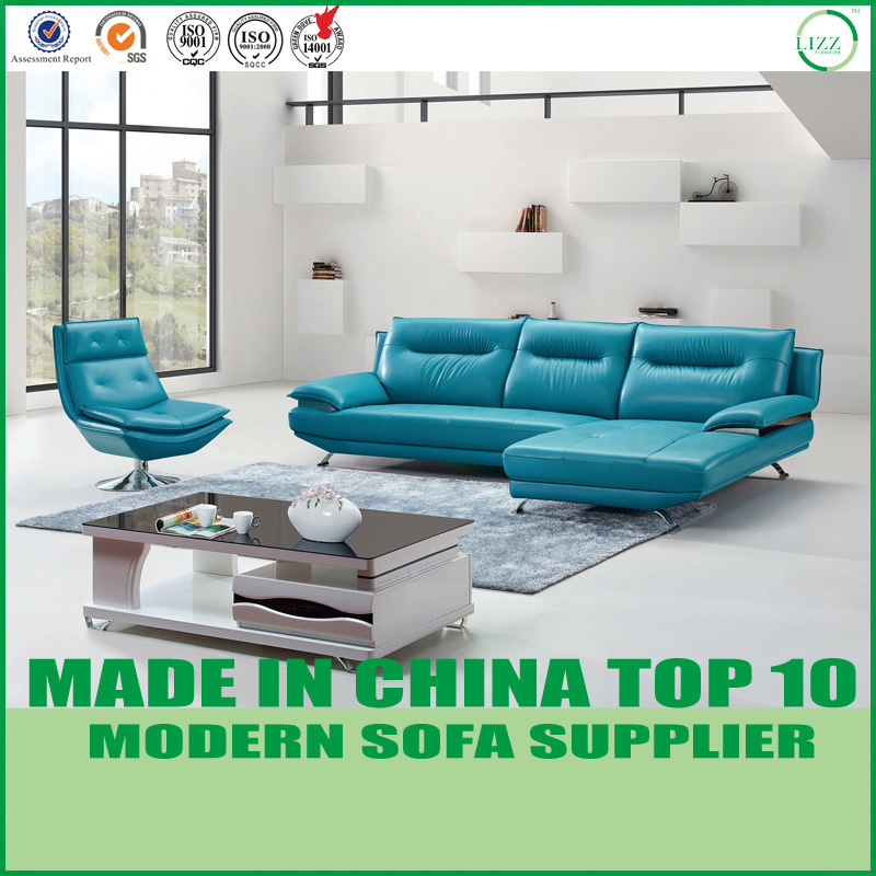 [Hot Item] Modern Italian Sectional Leather Couch with Swivel Chair
