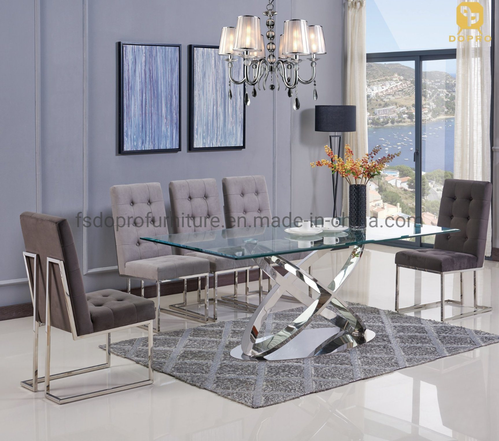 Master Design Dining Room Furniture 9 Seater Glass Dining Table Set D9