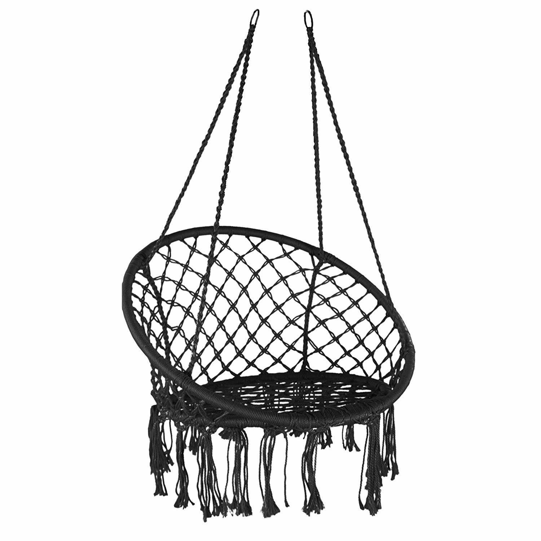 China Black Swing Hammock Chair Macrame Heavy Duty Hanging