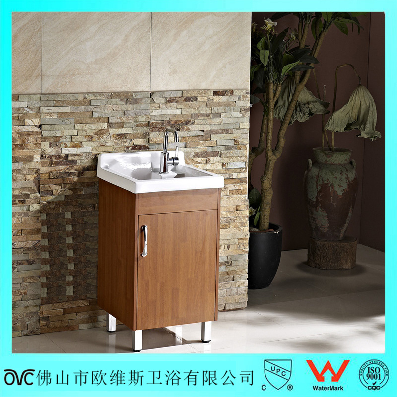 China Brown Single Door Solid Wood Laundry Sink Vanity Cabinet