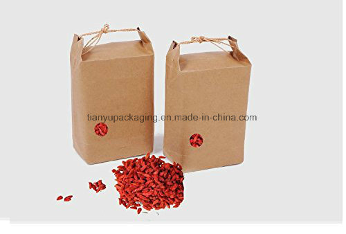 Kraft Paper Food Carrier Bag with Pouchwindow & Knitting Cord, for Tea Leaves, Rice, Nuts, Gifts pictures & photos