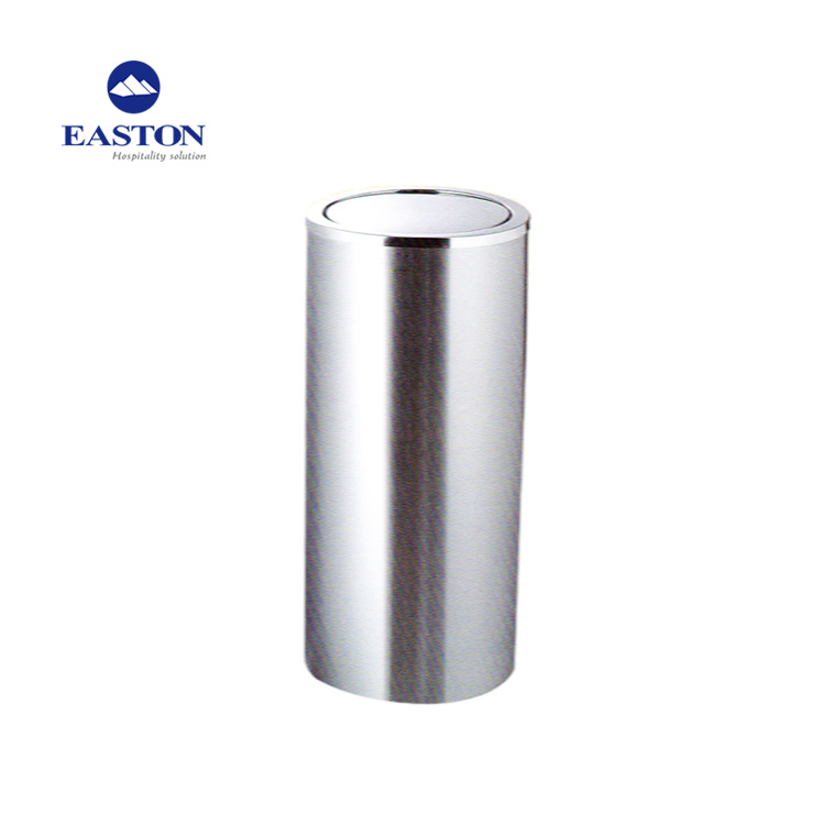 China Round Stainless Steel Bathroom Trash Bin For Indoor Appliance