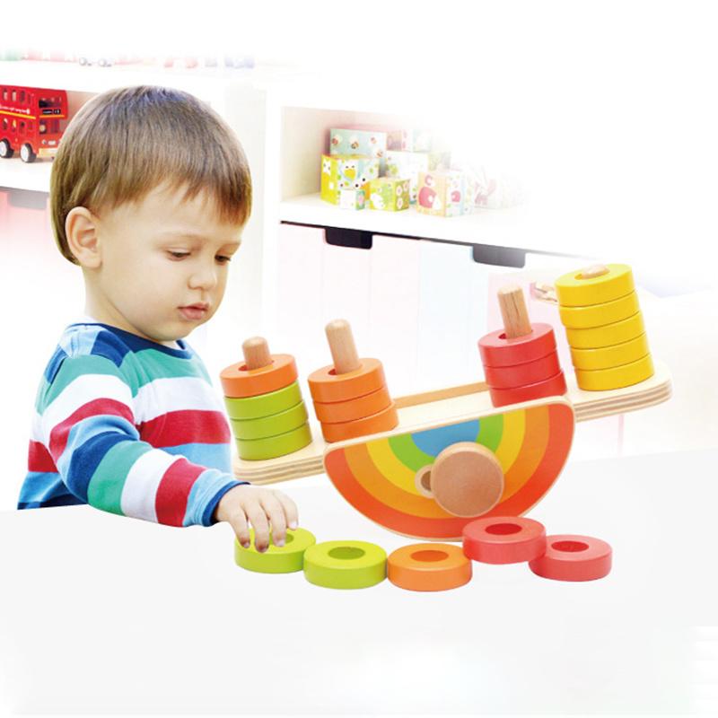 Baby Kid Educational Toys Wooden Blocks Balance Game Montessori Children Toys F