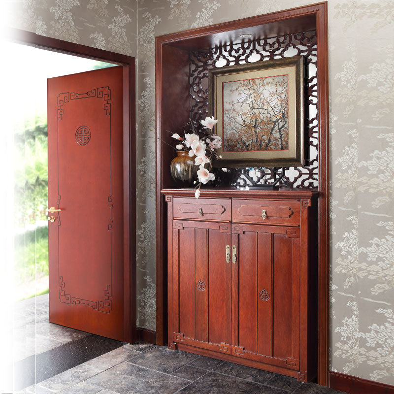 Solid Wood Kitchen Cabinets Made In Usa: China Antique Oriental Dark Red Solid Wood Shoe Cabinet