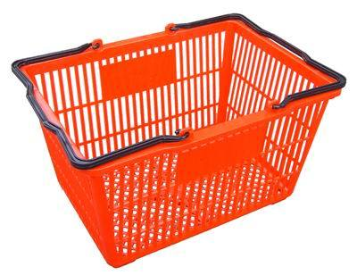 Plastic Supermarket Shopping Basket with Wheels pictures & photos