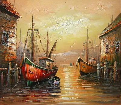 China Venice Port Sailing Scenery Handmade Wall Art Oil Painting on ...
