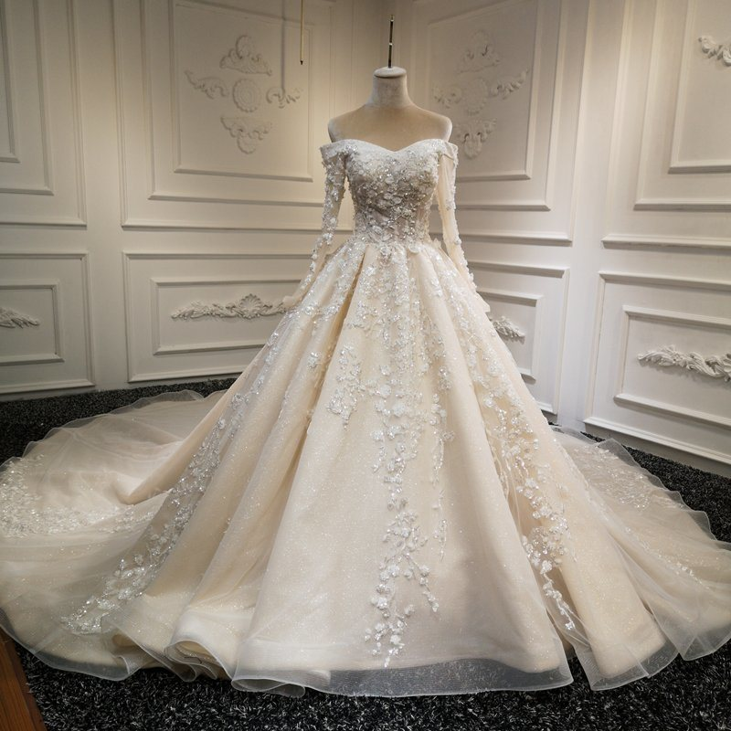 China Off Shoulder Bridal Ball Gown Glitter Lace Wedding Dress 2020 H1912 China Wedding Dress And Bridal Dress Price,Tulle And Lace Wedding Dresses