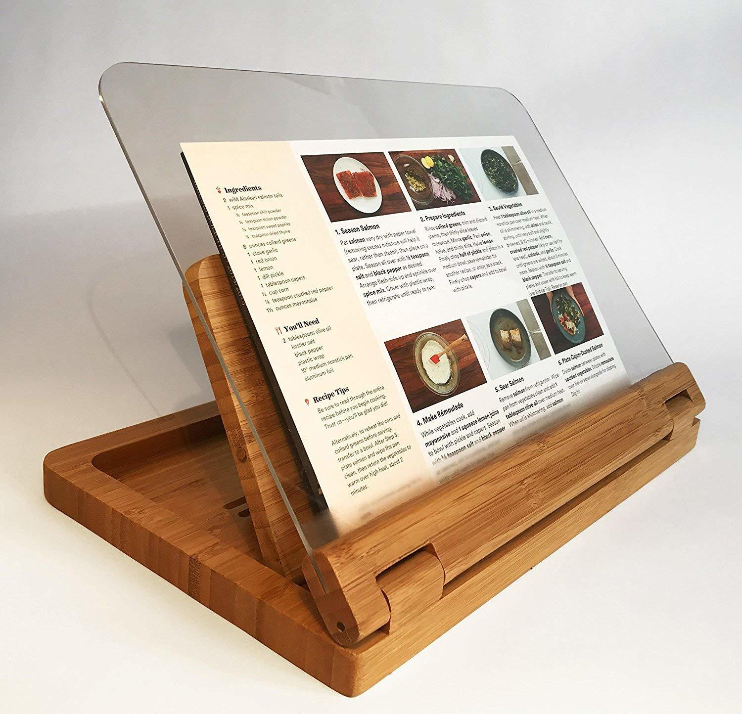 Natural Wooden Adjustable Cook Cookery Recipe Reading Book Support  Holder .