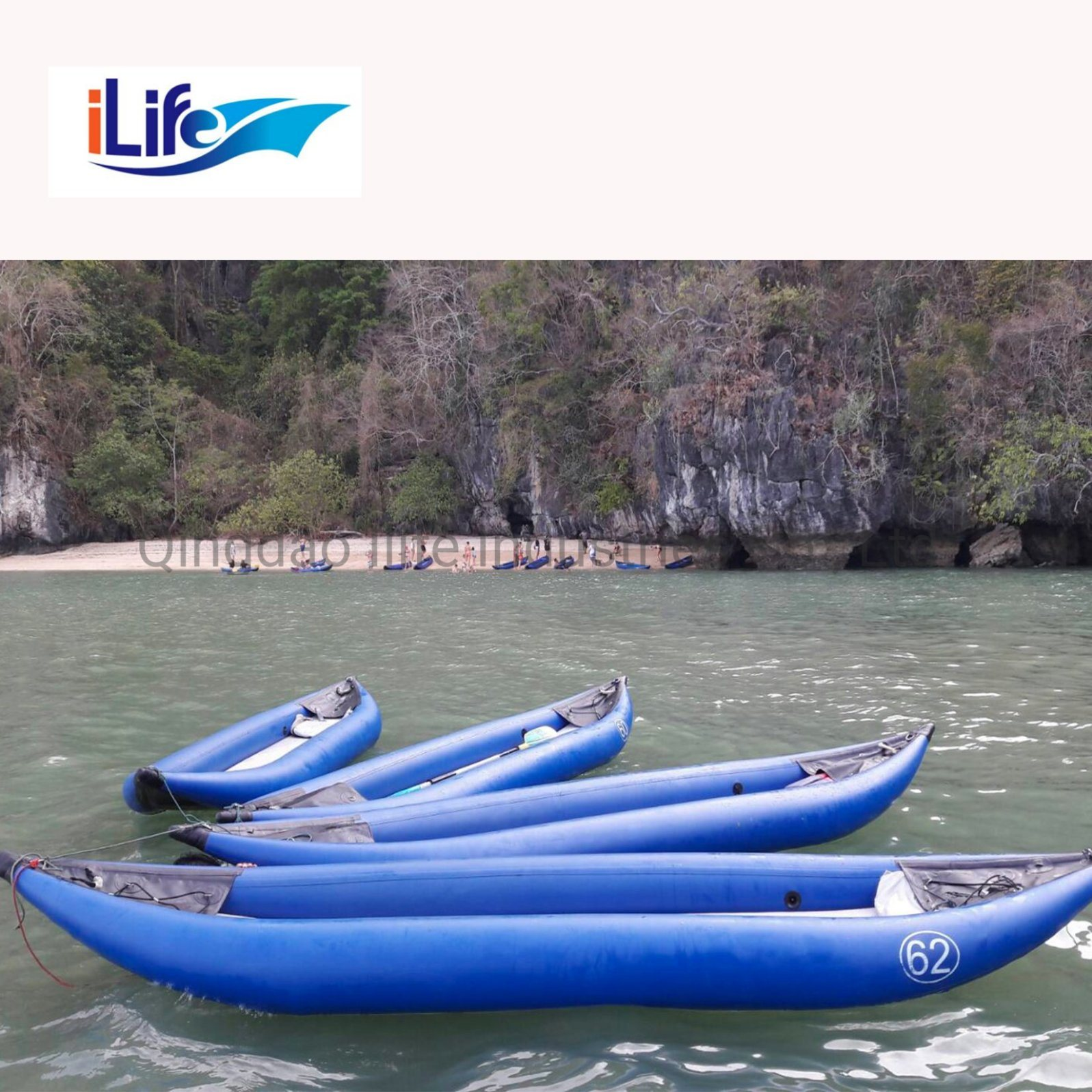 [Hot Item] Ilife PVC Drop Stitch Inflatable Pedal 2 Person Fishing  Whitewater Kayaks Self Bailing I-Beam Floor