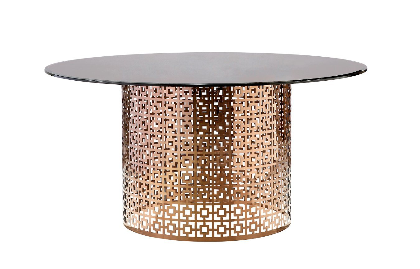 China Rose Gold Metal Base Round Glass Dining Table A299