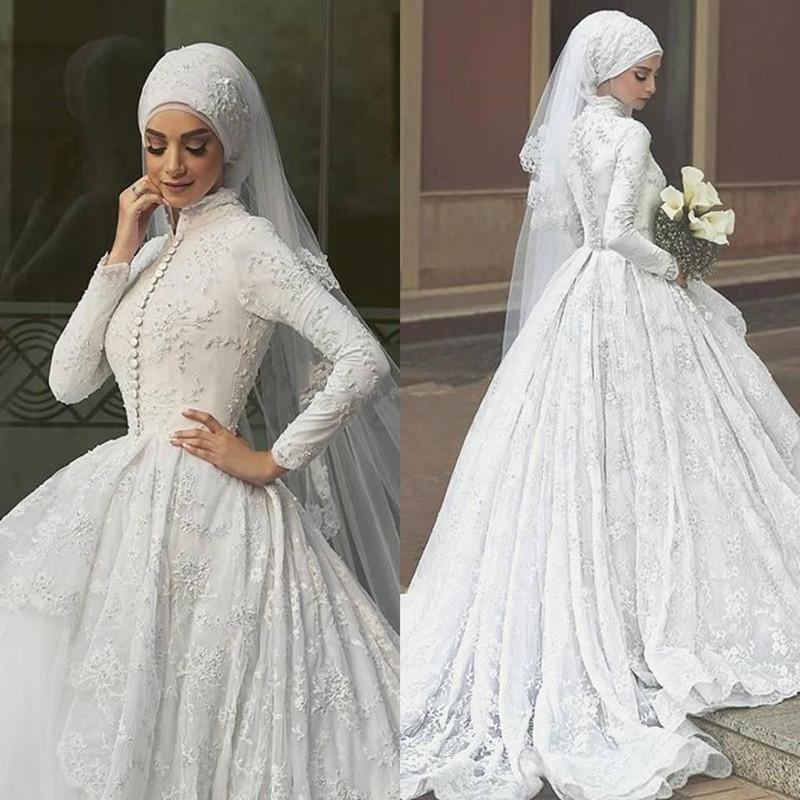 [Hot Item] Muslim Bridal Ball Gown Lace Long Sleeves Wedding Dress D2216