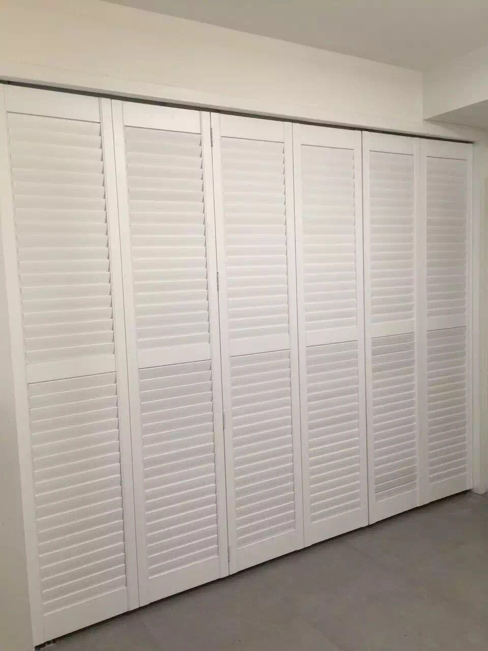 Hot Item Sun Adjustable Privacy Wood Bifold Louver Shutter Doors