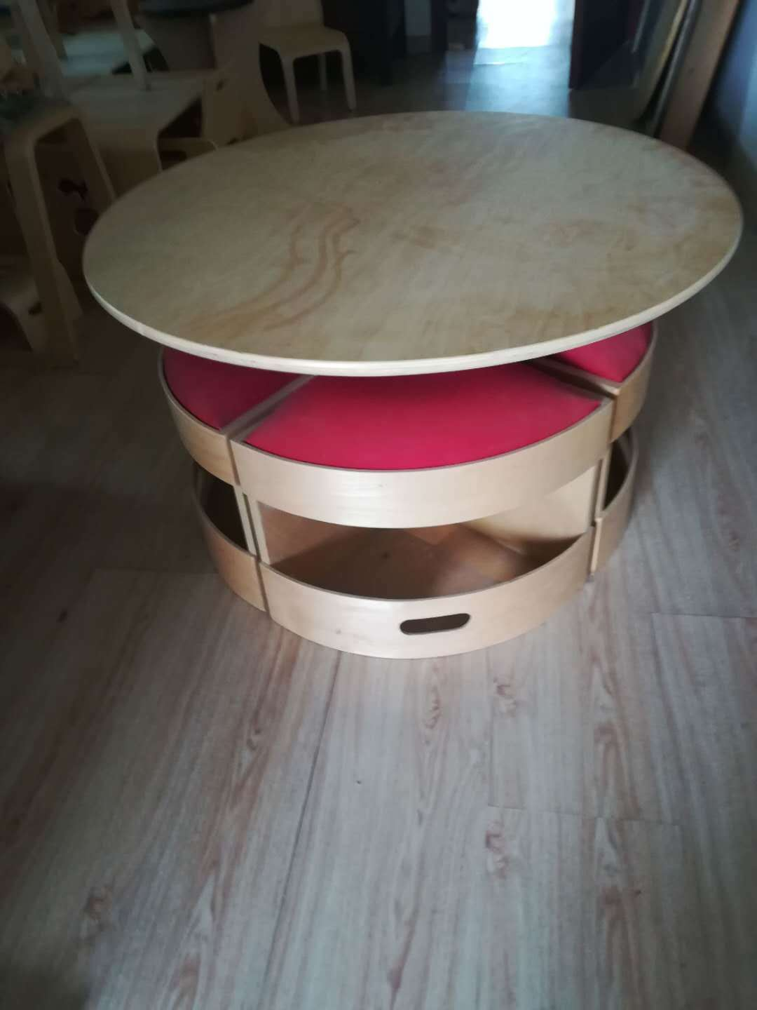 Hot Item Round Coffee Table Natural Bent Birch Wood Painted Plywood Storage