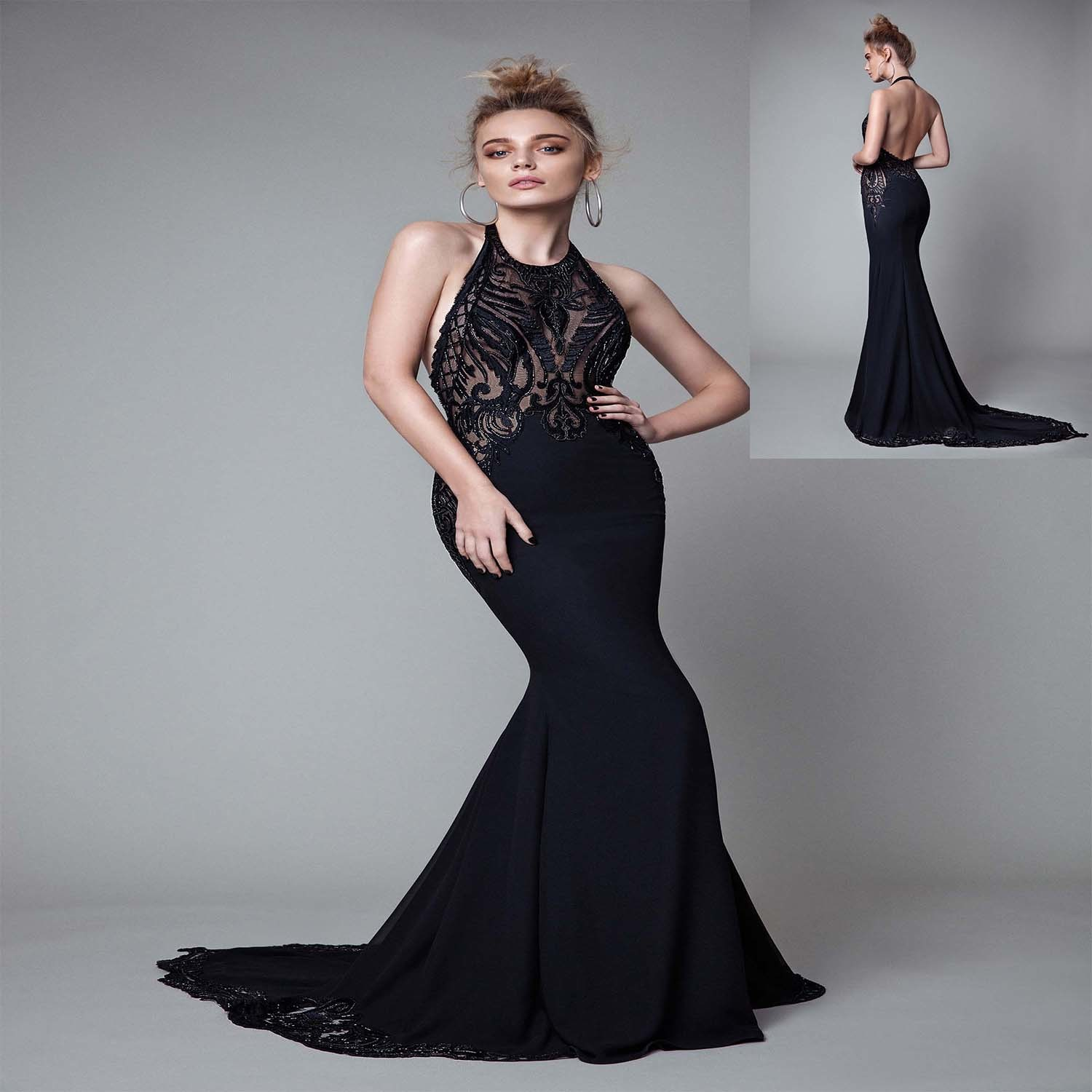 China Halter Beading Black Mermaid Evening Dress Photos & Pictures ...