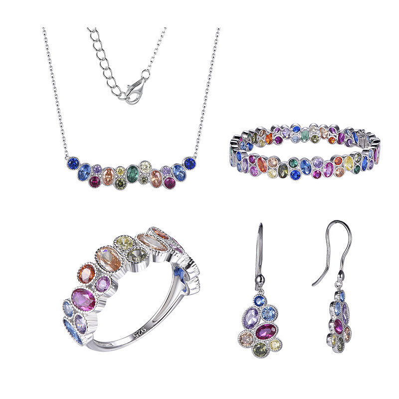 rainbow ring and earring set