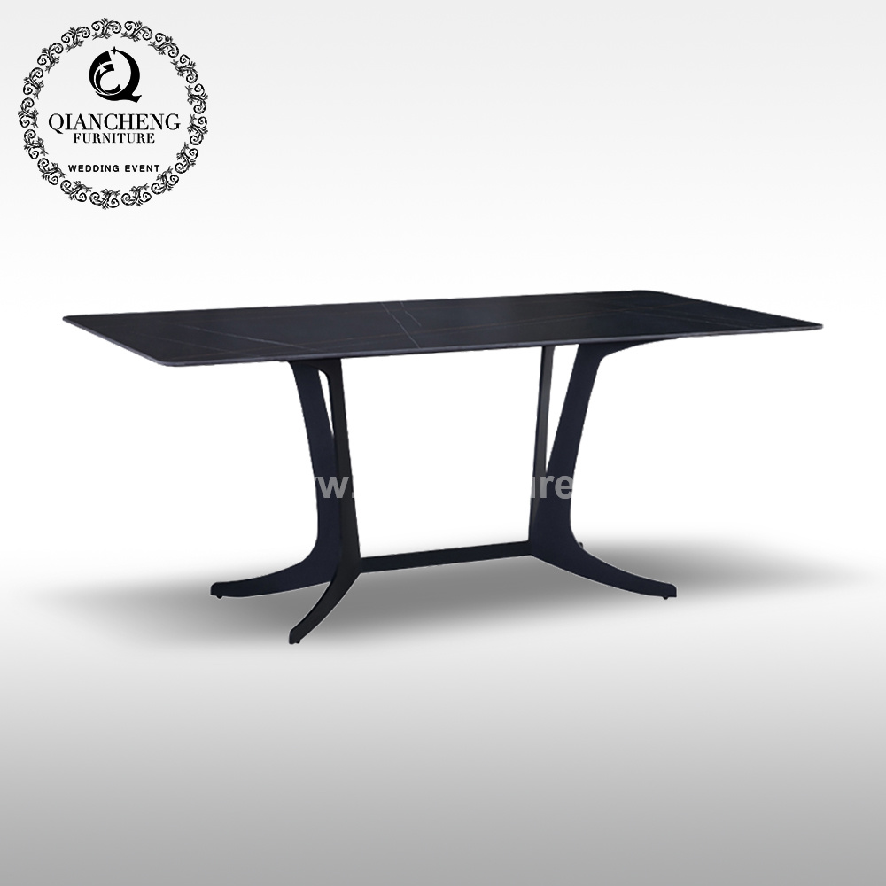 China Modern Dining Furniture Tempered Glass Big Size Stainless Steel Base Dining Table China Modern Furniture Dining Tables