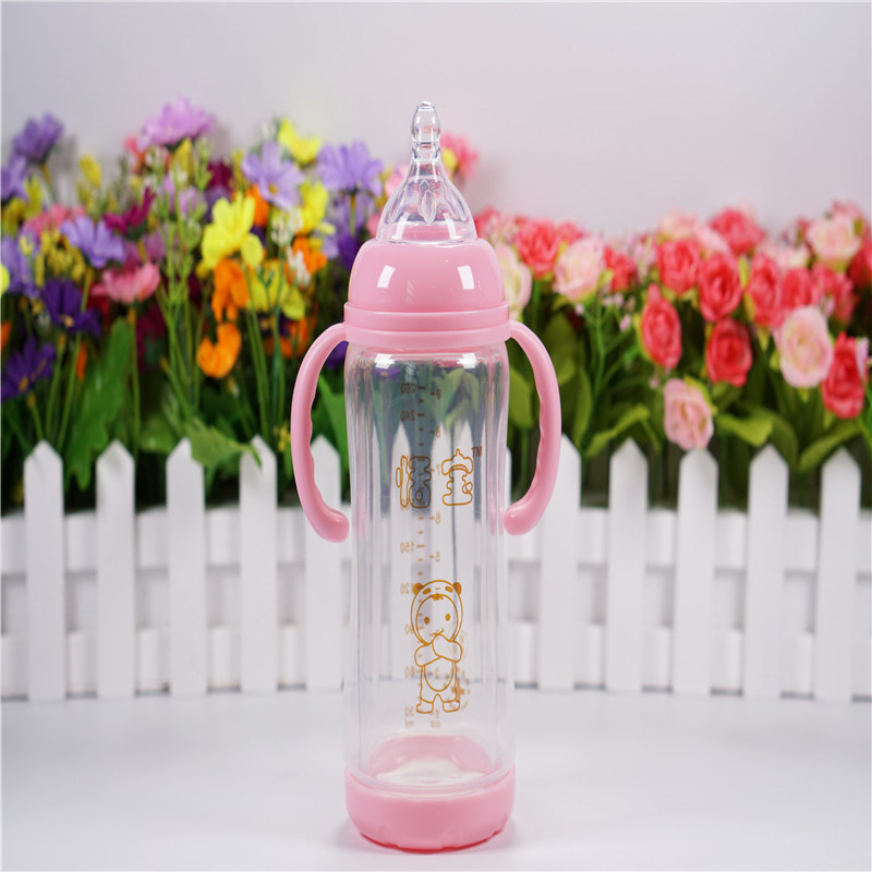 260ml Crystal Diamond Baby Glass Bottle with Break-Resistant Sleeve