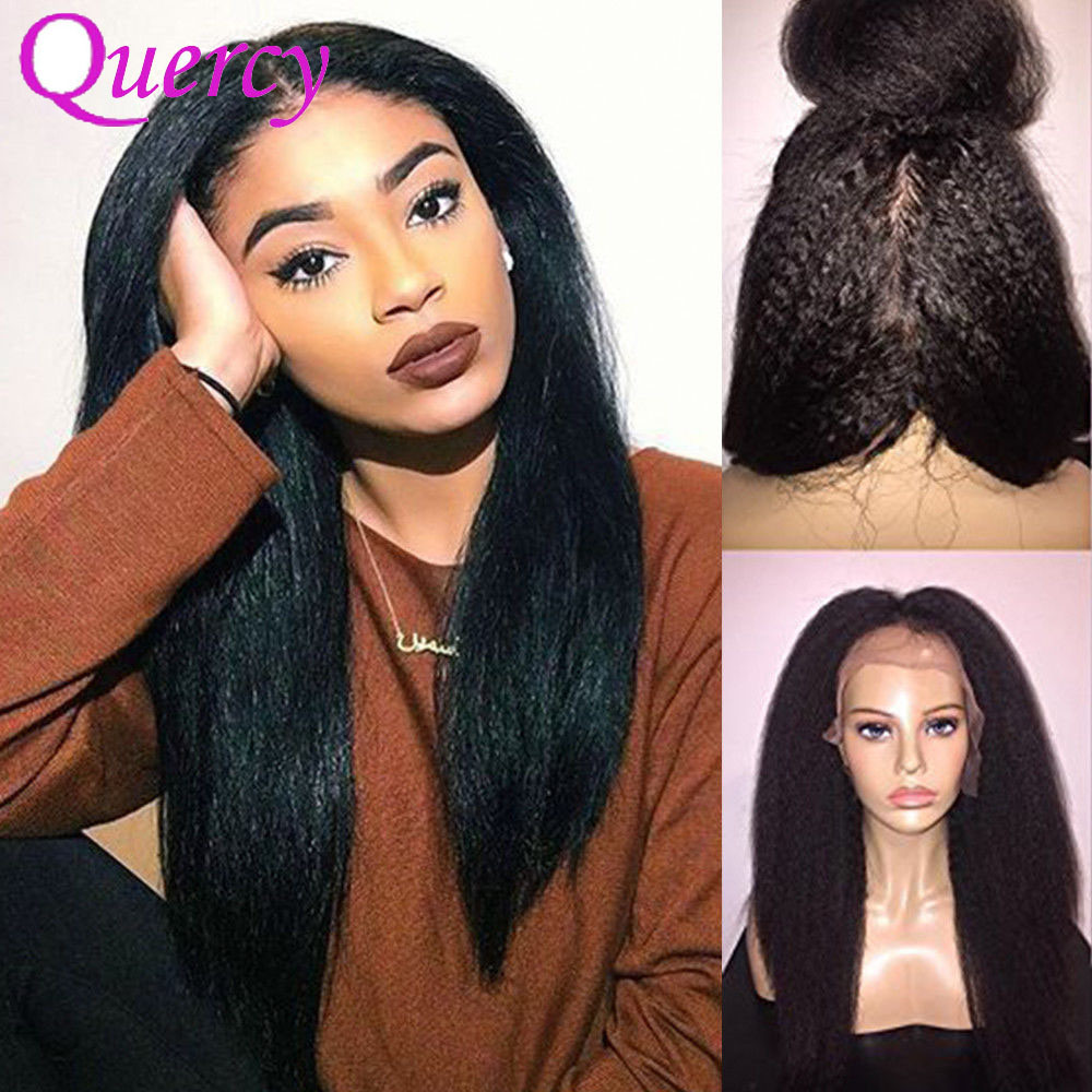 China Italian Yaki Full Lace Wig Indian Remy Human Hair Front Lace Wigs  Natural Black - China Hair Wig c2c77f3dd7