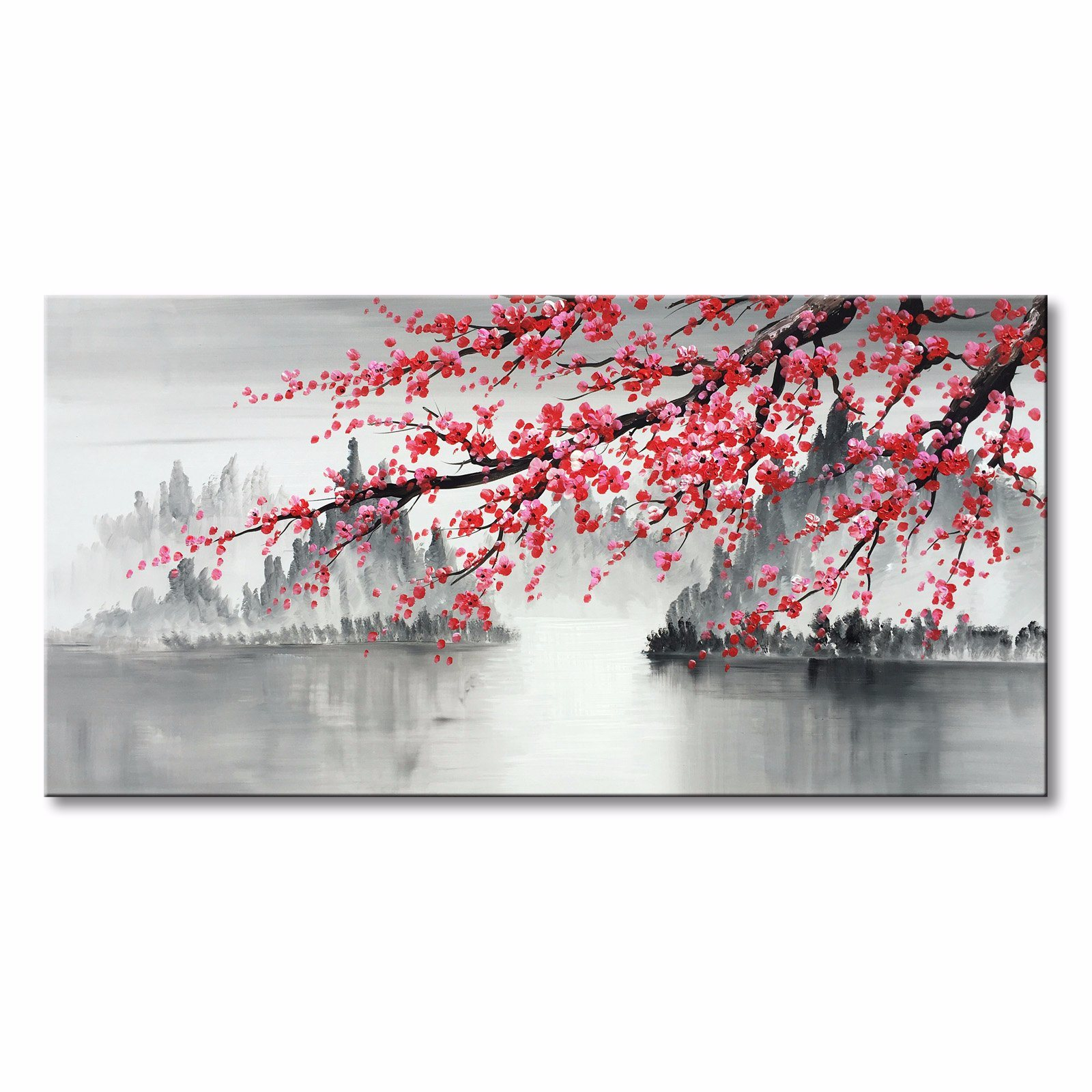 Hand Painted Plum Blossom Flower Canvas Wall Art ...