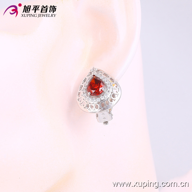 90437 Latest Fashion Luxury Elegant Silver-Plated Crystal Heart-Shaped Jewelry Earring for Wedding pictures & photos