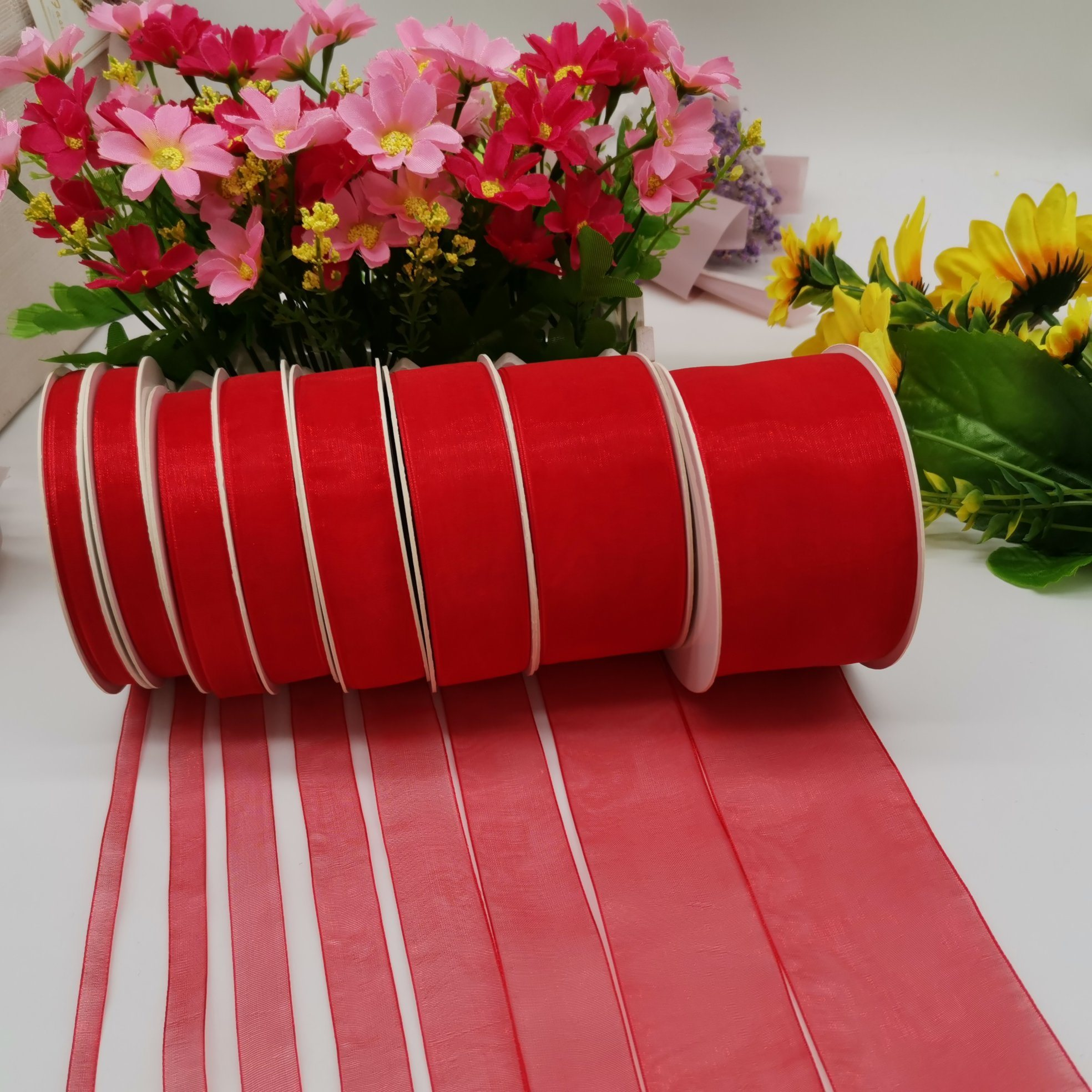 1 INCH RED Double Faced Satin Ribbon 40 Meters Crafts Gift Wrap Floristry