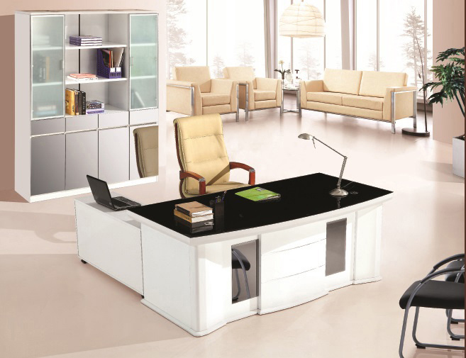 [Hot Item] High Glossy Office Table Executive Table Glass Top Office Desk  New Design Executive Desk Office Furniture 7 High Quality Furniture