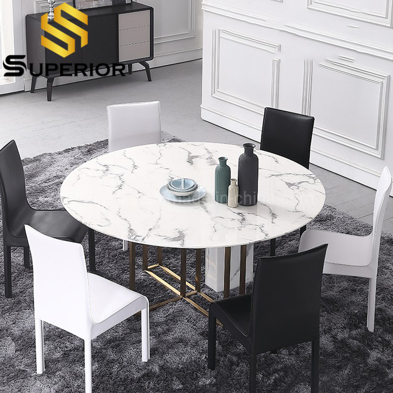 China Restaurant Furniture Round Shape Stone Base Marble Dining Room Tables China Modern Table Home Furniture Set