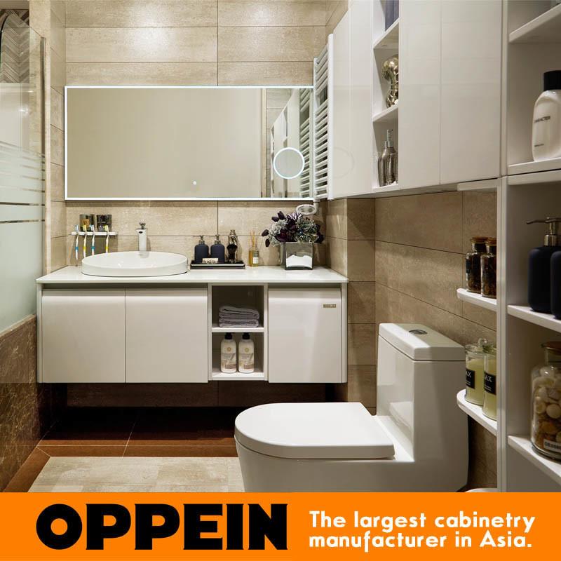 China Oppein Modern White Wooden Bathroom Vanity Cabinet Op14 007b China Bathroom Cabinets Modern Bathroom Cabinet