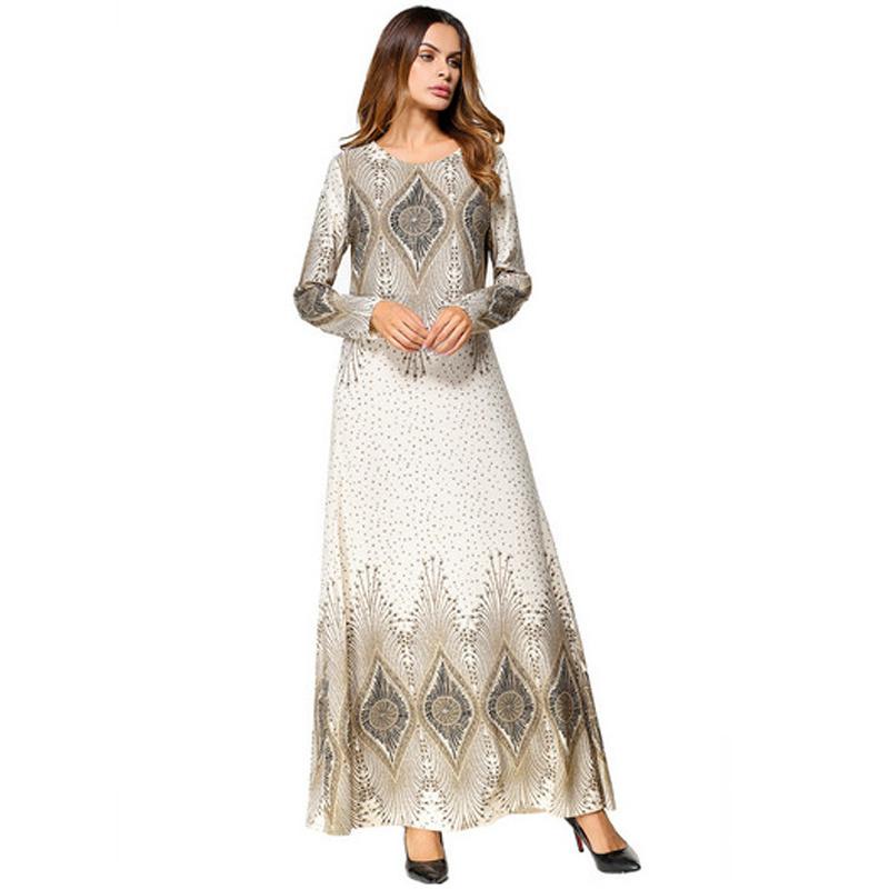 3e397344561 Fashion Flower Print Muslim Dress Women Abaya Middle East Long Robe Gowns Ramadan  Dubai Arab Islamic Clothing