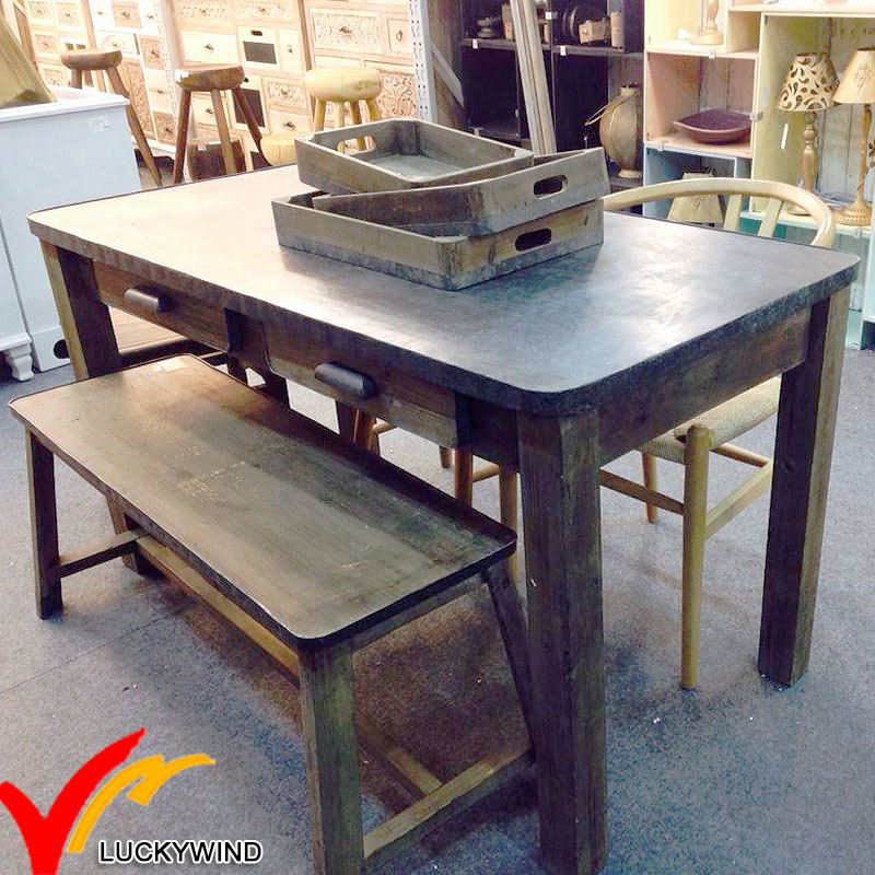 China Farmhouse Vintage Furniture Antique Wood Dining Table With Zinc Top And Bench Room Sets