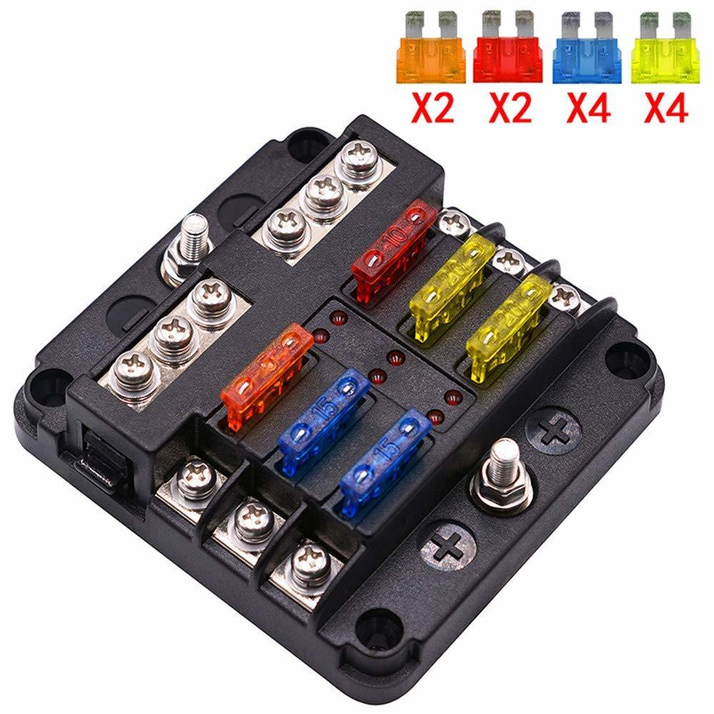 6 Way Car Automotive Marine Fuse Box 12V Confuence Line with LED Lights for N2L6