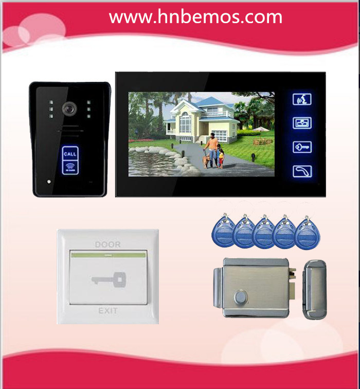 "New 7"" Color Hands Free Video Doorphone with IR Camera with Electronic Lock"