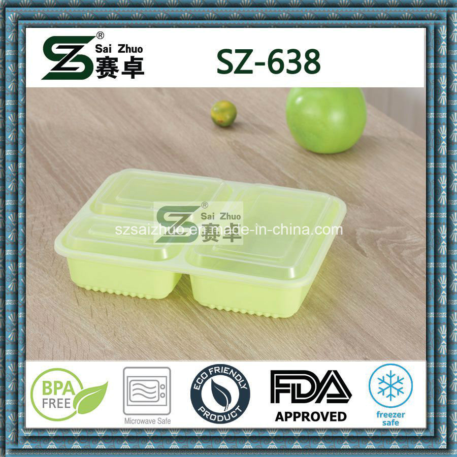 Top Grade Square 3compartment Disposable Plastic Food Container