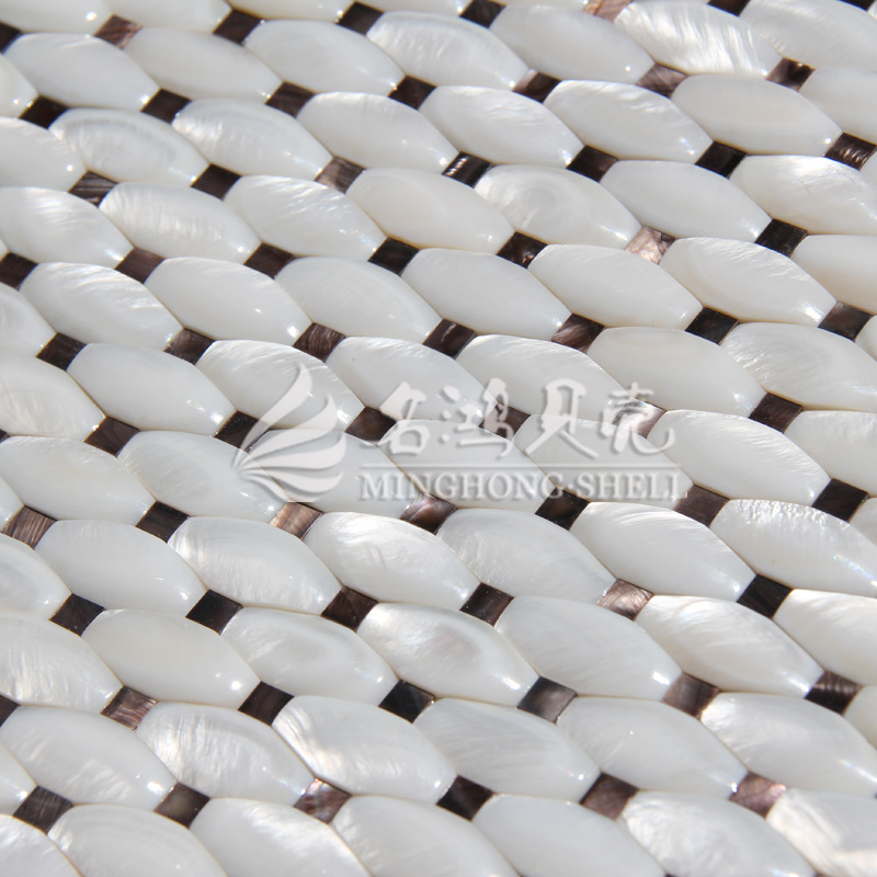 Freshwater Shell Pure White Arch Face Octagon Mosaic Tile pictures & photos