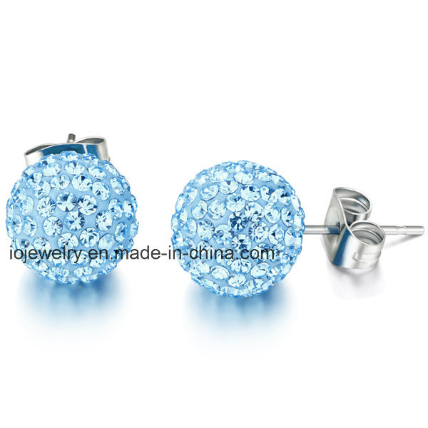 Stainless Steel Crystal Body Jewelry Ball Stud Earrings