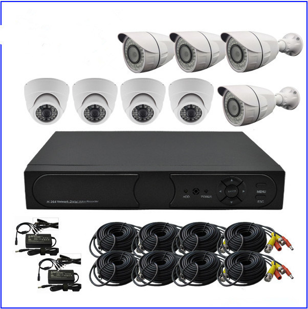 China 1.0MP CCTV Kits Standalone DVR with 4 Dome Camera 4 Bullet ...